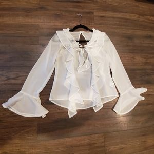 For love and lemons white flowy front tie blouse